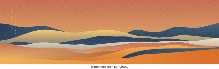 Japanese wave pattern vector. Landscape background with geometric elements. Sunset wallpaper in oriental style.