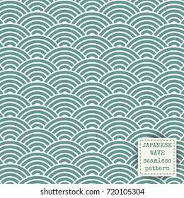 Japanese wave seamless pattern. Abstract ink print vector background. Block print fabric effect wallpaper.