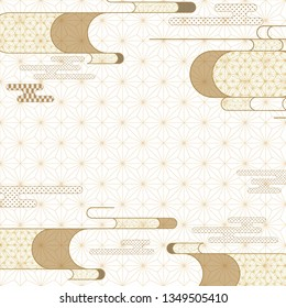 Japanese wave template vector. Oriental pattern background. Asia geometric frame.