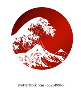 Japanese wave. Traditional drawing. Hand drawn vector illustration.