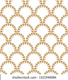 Japanese wavy golden floral vector seamless pattern. Abstract round elements repiating texture design.