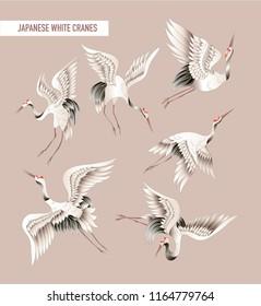Japanese white crane in batik style. Vector illustration.