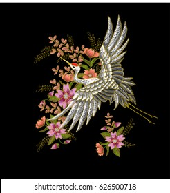 Japanese white crane and flowers. Embroidery vector.