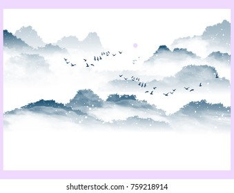 Japanese winter landscape, vector. Morning, forest mountains, fog between them, birds fly towards the sun