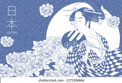 Japanese woman is wearing traditional Japanese clothes. Geisha Costume. Flower pattern. Hand drawn vector illustration. (Translate white letters : 'Japan')