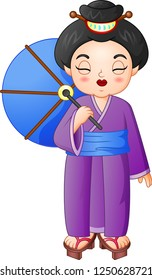 Japanese woman wearing traditional kimono holding an umbrella