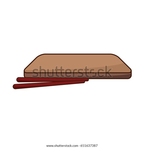 Japanese Wooden Plate Sticks Food Stock Vector Royalty Free 651637387