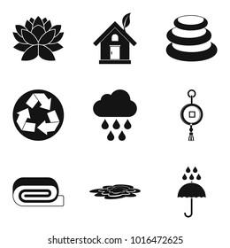 Japanese world icons set. Simple set of 9 japanese world vector icons for web isolated on white background