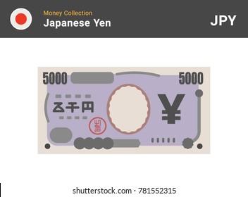 Japanese Yen banknone. Paper money 5000 JPY. Flat style. Vector illustration.