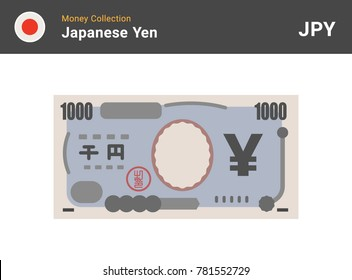 Japanese Yen banknone. Paper money 1000 JPY. Flat style. Vector illustration.