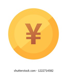 Japanese Yen coin icon, flat vector illustration with sign of Franc isolated on white.