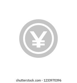 Japanese Yen coin icon. Gray isolated  image. JPY sign.