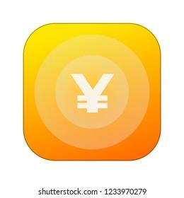 Japanese Yen coin icon. White  symbol on orange. JPY sign.