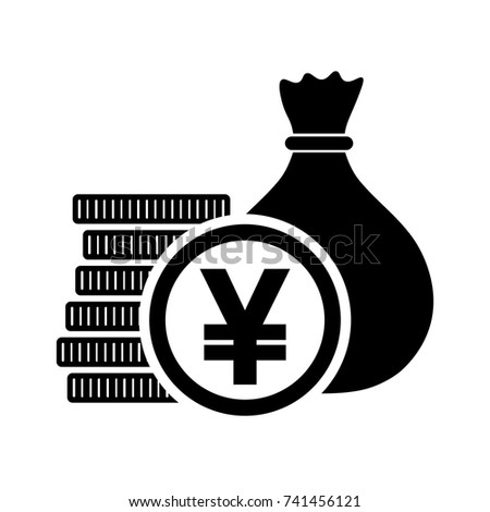 Japanese Yen Money Bag Coins Jpy Stock Vector Royalty Free