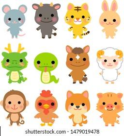Japanese Zodiac character illustration set