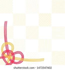 Japanese-style modern checkered pattern and string-like decoration called Mizuhiki