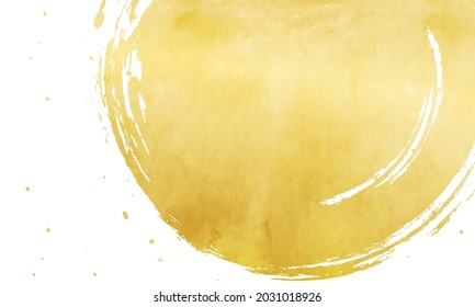 Japanese-style vector illustration of lines and gold leaf written with a brush (background)
