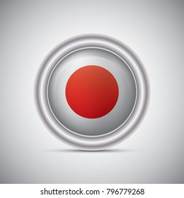 Japon flag button style. Vector image