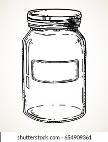 Jar with blank label. Vector hand drawn vintage illustration. Contour sketch in black isolated over white.