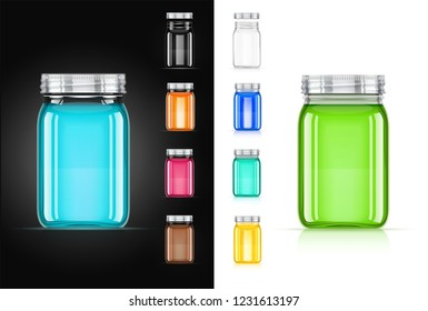 Jar with cap for trendy drink. Smoothie, juice, water capacity. Cup mock-up. Realistic glass dishes. Food utensils. Isolated white background. EPS10 vector illustration.