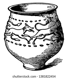 Jar of Castor ware with reliefs of a stag pursued by a hound, its executed in semi-fluid slip, vintage line drawing or engraving illustration.