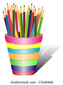 Jar with colorful pencils