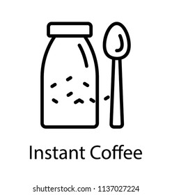 A jar container with the beans and spoon, giving the concept of instant coffee