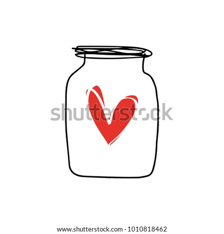 Jar Funny Valentines Day Card Hand Stock Vector Royalty Free