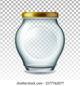 Jar Glass With Golden Cap For Pickled Fruit Vector. Empty Glass Bottle For Storaging Plum, Apricot, Cherry Or Strawberry Transparency Background. Glassware Layout Realistic 3d Illustration