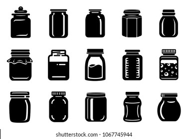 Jar glass for jam or honey icons set. Simple illustration of 15 jar glass for jam or honey vector icons for web
