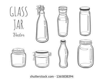 Jar glass for jam or other products.  Vector hand drawn illustration