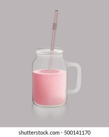 Jar with a handle and tasty milkshake or smoothie
