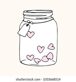 jar with hearts, doodle sketch