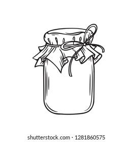 Jar of honey or glass jar, outline vector. Retro style.