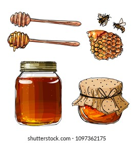 A jar of honey. Honey, honeycomb, bees, honey stick. Vector skech food