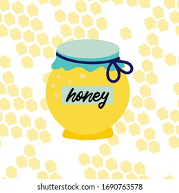Jar of honey on honeycombs background. Vector illustration cartoon flat icon isolated on white. can be used for: Print, banner, label, poster, sticker, logo.