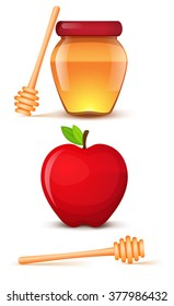 Jar of honey, red apple and spoon isolated icons on a white background.