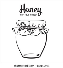 Jar of honey, sketch style vector illustration isolated on white background. honey in transparent glass jar with closed lid.