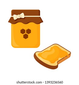 Jar with honey and slice of fried bread, toast. Vector illustration