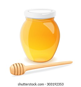 A jar of honey and spoon for honey on a white background. Eps 10.