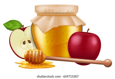 Jar of honey with wooden dipper and apple. Traditional celebration food for the Jewish New Year, Rosh Hashana. Vector illustration.