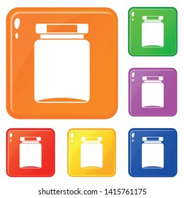 Jar icons set collection vector 6 color isolated on white background