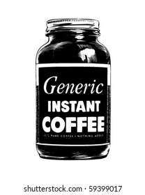 Jar Of Instant Coffee - Retro Clip Art