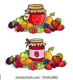 Jar of jam surrounded by fruits and berries. Apple, pear, cherry, strawberry, peach, raspberry, plum, currant and gooseberry.