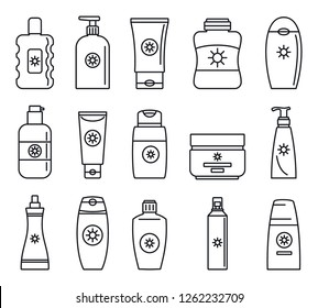 Jar lotion products cosmetic icon set. Outline set of jar lotion products cosmetic vector icons for web design isolated on white background