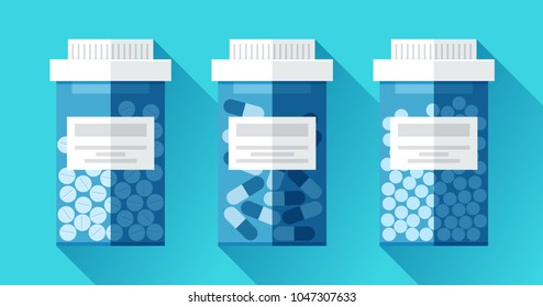 Jar with medicine. Medical icons set in flat style, blue pill bottle on color background. Vector design element