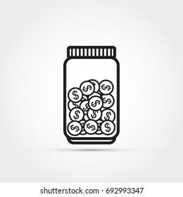 Jar with money vector illustration -saving money concept