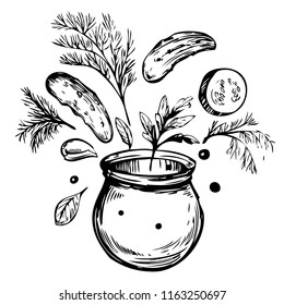 Jar with pickled cucumbers. Sketch illustration. Vector