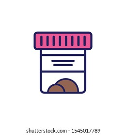 A jar with a sample of feces on a white background. Vector icons on the medical theme. Vector illustration, flat design.