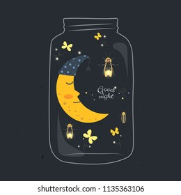Jar with sleeping smiling moon and firefly in the night.